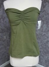 NWT! Junior DECREE Strapless Summer Top Tank  Olive Green Shirt Size Large