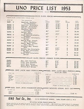 Original 1953 2pg Uno  Tool Co.Price List  Flyer Ad Fishing Catalog