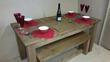 any size made REAL SOLID WOOD DINING TABLE & BENCHES RUSTIC PLANK PINE FURNITURE