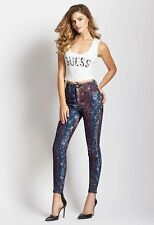 Brand New Women sz 25 GUESS High-Rise 3-Zip Crop Star-Print Jeans -Neo Funk Wash