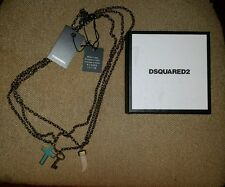 $345.00 Dsquared2  Turquoise Cross Key Horn  Three Tier Necklace Gold Brass