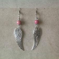bijoux Boucles d'oreilles fleur gravée sur aile d'ange-perle rhodonite