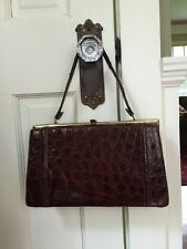 GORGEOUS VINTAGE BROWN ALLIGATOR HANDBAG PURSE, MUST SEE!