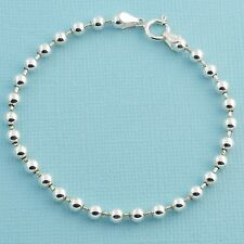 "4MM Sterling Silver Ball Chain Bracelet With Springring Clasp 7"" Length"