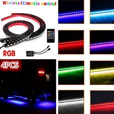 LED Undercar Underglow Kit Neon Strip Glow Light Tube Kit + Remote Music Control