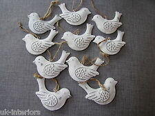 Set of 10 Vintage Hanging BIRD Metal Shabby Chic Decoration