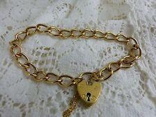 9ct 9carat Yellow Gold Charm Bracelet with padlock 7 3/4'' 14.8grams