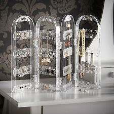 4 Panel Clear Earring Necklace Bracelet Holder Top Display Stand Jewelry Storage