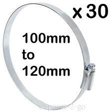"""30 X Drive Worm IN METALLO TUBO MORSETTO JUBILEE Tubo in Acciaio Clip 4"""" grandi 100 - 120mm"""