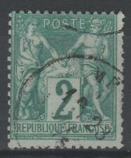 "FRANCE STAMP TIMBRE N° 62  "" TYPE SAGE 2 c VERT 1876 "" OBLITERE TB   N648"