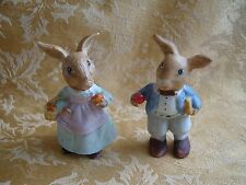 A Pair of  Lovely Ceramic Rabbit Couple figurines ~ Colorful