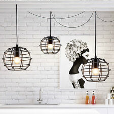 Industrial DIY Metal Line Cage Ceiling Lamp Lights Pendant Cafe Home Art Decor