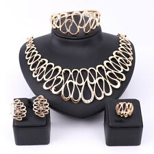 Women Gold Plated Crystal Statement Big Necklace Bangle African Jewelry Sets