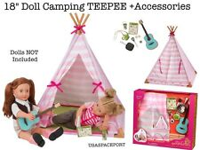 "18"" Doll Deluxe Camping TEEPEE TENT PLAY-SET Guitar Food +Dishes 4 American Girl"