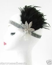 Black & Silver Feather Vintage Headpiece 1920s Great Gatsby Flapper Headband S23