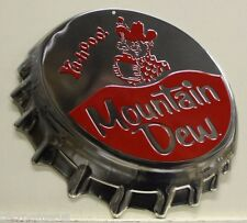 MOUNTAIN DEW heavy embossed metal sign hillbilly logo bottle cap style 2170161