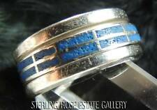 MEN'S TENSION SPINNER BLUE STONE Sterling Silver 925 Estate BAND RING size 10.25
