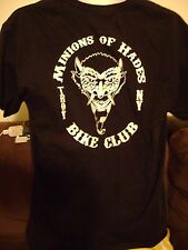 BIKER T-SHIRT-LRG- MINIONS OF HADES-TROY NY-MC BIKER CLUB SHIRT. LARGE