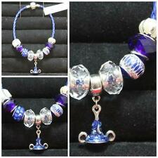 """OOK Handmade 7 1/2"""" Blue Sorcerers Witches Hat & Beads Blue Leather Bracelet  #9"""