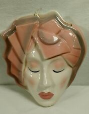 Art Deco Woman Head Wallpocket Sconce Flapper Face Planter Porcelain Pink Grey