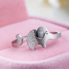 Brushed Elephant Opening Adjustable Rings Women's Silver Plated Jewelry