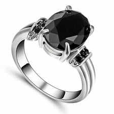 Black Sapphire Wedding Band Ring 10KT white Gold Filled Party Jewelry Size 6