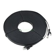 CAT6 20M 65ft RJ45 Ethernet Network LAN Cable Flat UTP Patch Router Cable Black