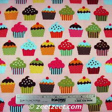 Robert Kaufman Confections CUPCAKES PINK Cupcake Sweets Quilt Fabric by the Yard