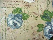 """Elastic Edge Round Fitted Vinyl Tablecloth fits 36"""" to 48"""" Blue Roses"""