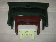 Set of 3 Wooden Bench Wall Shelves Dark Green Red Cream Heart Country Cottage
