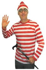 Adult Men Red White Striped Shirt One Size Costume Fancy Dress Wally New