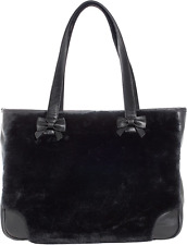 78099 Black Faux Fur Sure Tote Purse Bag Sourpuss Pinup Punk Soft Bows Goth