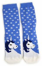 LADIES DAYDREAMING SNOOZY UNICORN WITH BLUE MANE & SILVER HORN SOCKS