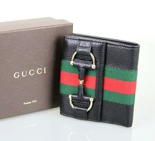 New Authentic GUCCI French Leather Wallet w/Horsebit and GRG Web, Black, 245751