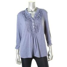 NY Collection 2880 Womens Blue Lace Front Ruched Pullover Top Blouse L BHFO
