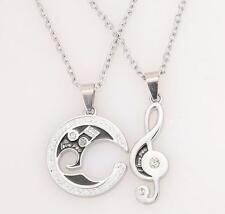 Silver Chain Stainless Steel Couple Matching Music Note Pendant Necklace Set TA