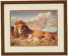 """Nancy Glazier PEACE AND HARMONY 9"""" x 12"""" Image Size Matted & Framed Lion & Lamb"""