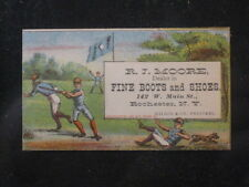 Vintage 1881 R. J. Moore Boots and Shoes Baseball Trade Card Rochester, NY