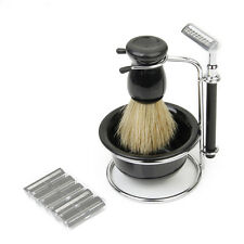 4 in 1 Men's Razor Shaving Beard Clean Tool Set Brush Soap Dish Bowl Blades