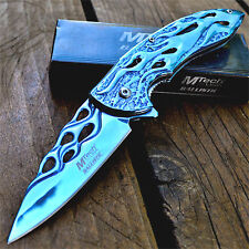 "8"" M-TECH BLUE Spring Assisted Open Blade FOLDING POCKET KNIFE Fade Switch"