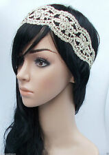 Cream Black Ivory Lace Headband Flapper Great Gatsby 1920s Vintage Art Deco W18