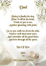 Wedding Day Thank You Gift, Father Of The Bride Poem A5 Photo