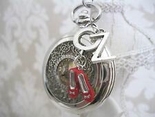 New Wizard Of Oz Ruby Slippers Large Unique Silver Pocket Watch Necklace