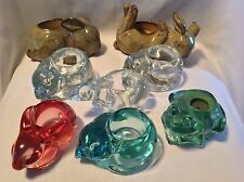 Lot of 8 Animal Indiana Glass Partylite Candle Holder Frog Cat Kitty Bear Rabbit
