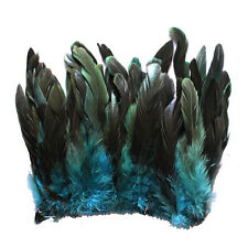 "100+ pcs.(16grams) 6-8"" half bronze teal schlappen coque rooster feathers, NEW"