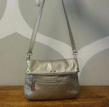 TIGNANELLO Champagne Gold Pebbled Leather Slim 3 Pocket Foldover Crossbody Bag