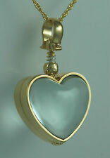 Cremation Glass Sterling Silver Memorial Heart gold Locket with chain Jewelry