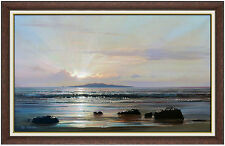 PETER ELLENSHAW Large Original Seascape Painting Oil On Canvas Signed Sunset Art