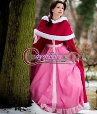 Hot Cosplay  Halloween Red Cloak Beauty and The Beast Belle Cosplay Pink Dress 6