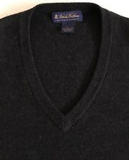 BROOKS BROTHERS MENS BLACK 3 PLY ITALIAN CASHMERE V NECK SWEATER LARGE